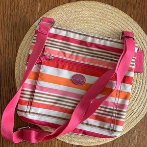 Coach Multi Striped & Color Canvas Crossbody Bag